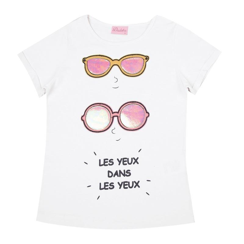 Blusa Duduka Infantil Menina Óculos Branco