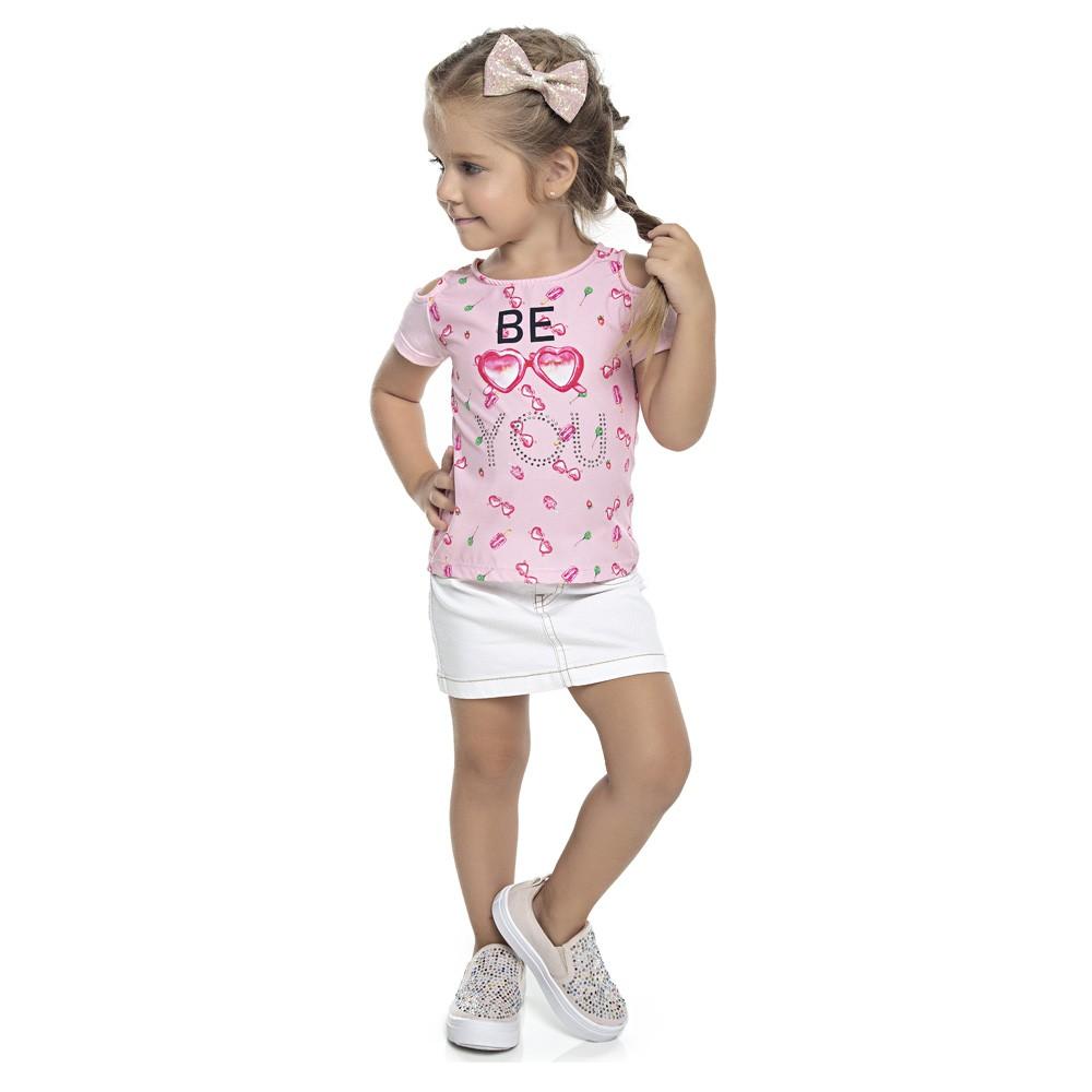 Blusa Duduka Infantil Menina Óculos Rosa