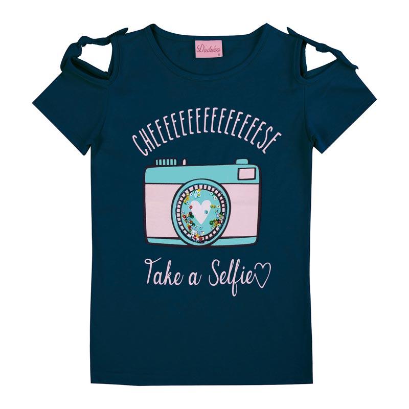 Blusa Duduka Infantil Menina Selfie Azul