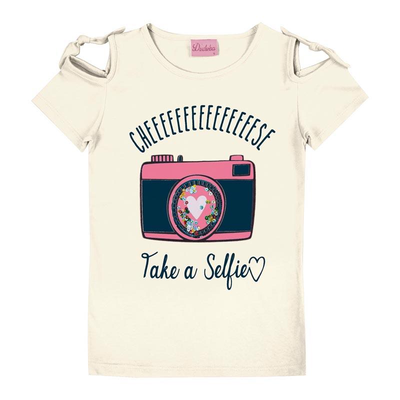 Blusa Duduka Infantil Menina Selfie Bege
