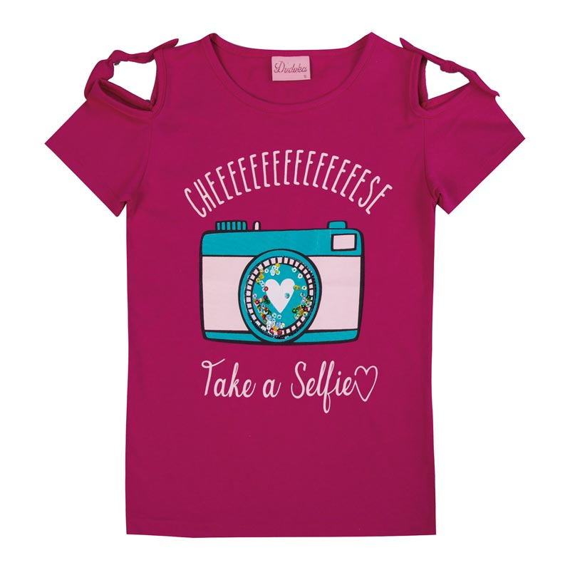 Blusa Duduka Infantil Menina Selfie Rosa