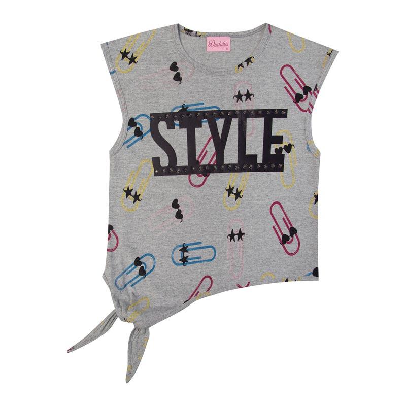 Blusa Duduka Infantil Menina Style Cinza