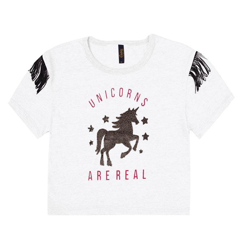 Blusa Duduka Infantil Menina Unicorns Branco