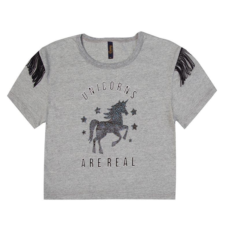 Blusa Duduka Infantil Menina Unicorns Cinza