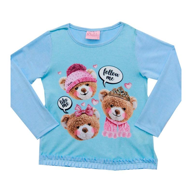 Blusa Duduka Infantil Menina Ursos Azul