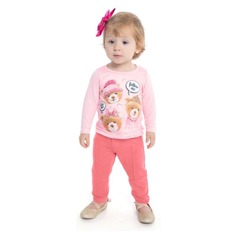 Blusa Duduka Infantil Menina Ursos Rosa