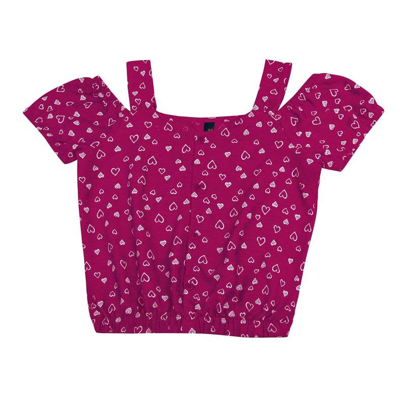 Blusa Duduka Juvenil Menina Coração Rosa