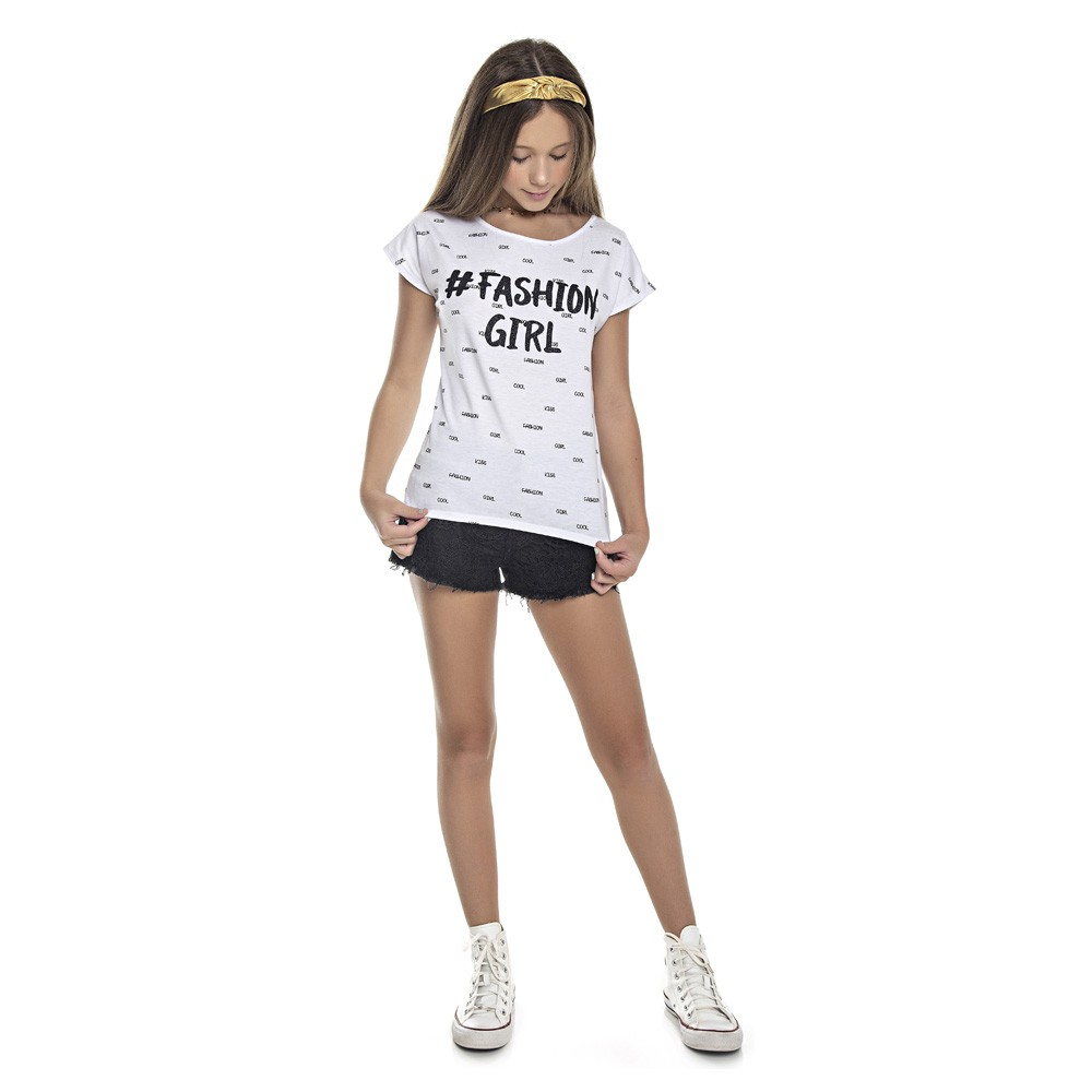 Blusa Duduka Juvenil Menina Fashion Girl Branco
