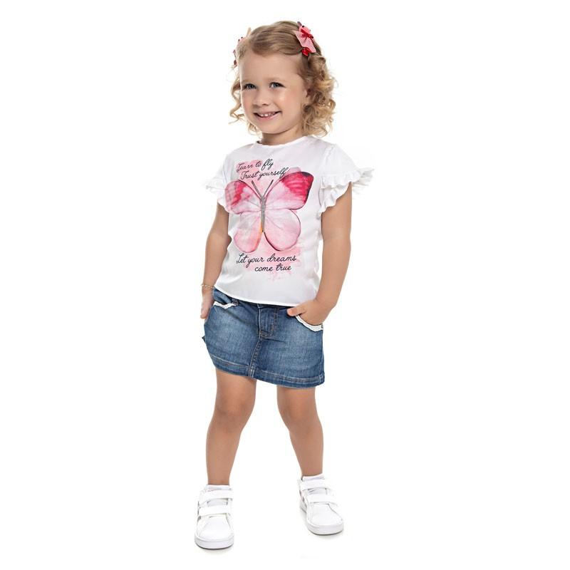 Blusa Infantil Menina Borboleta Bege