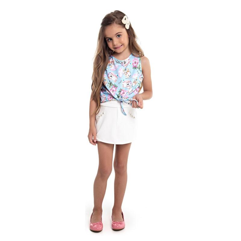 Blusa Infantil Menina Cachorrinho Azul