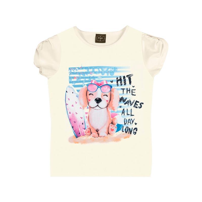 Blusa Infantil Menina Cachorrinho Branco