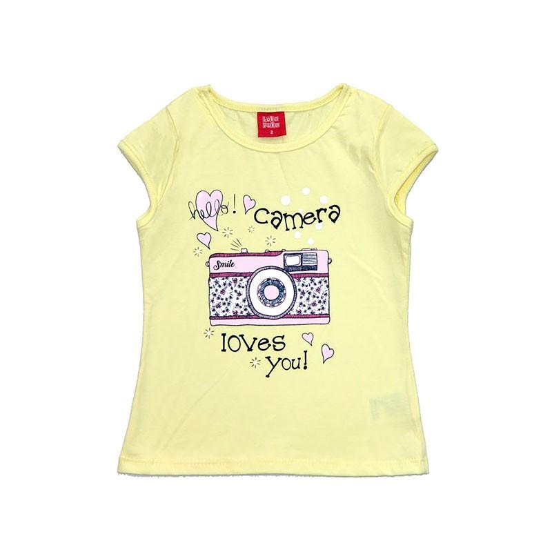 Blusa Infantil Menina Câmera Amarelo