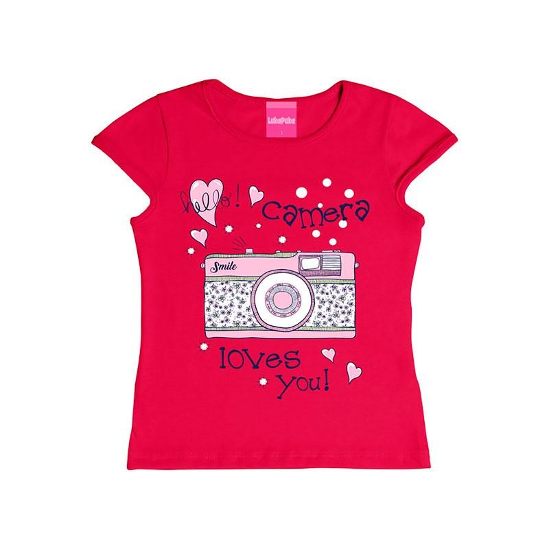 Blusa Infantil Menina Câmera Rosa
