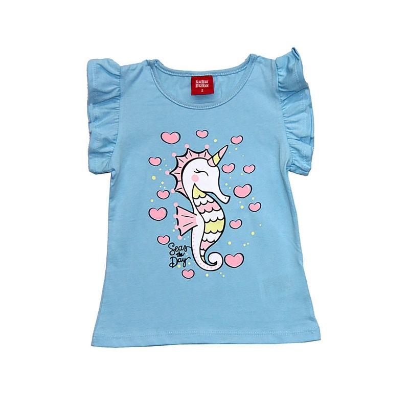 Blusa Infantil Menina Cavalo Marinho Azul