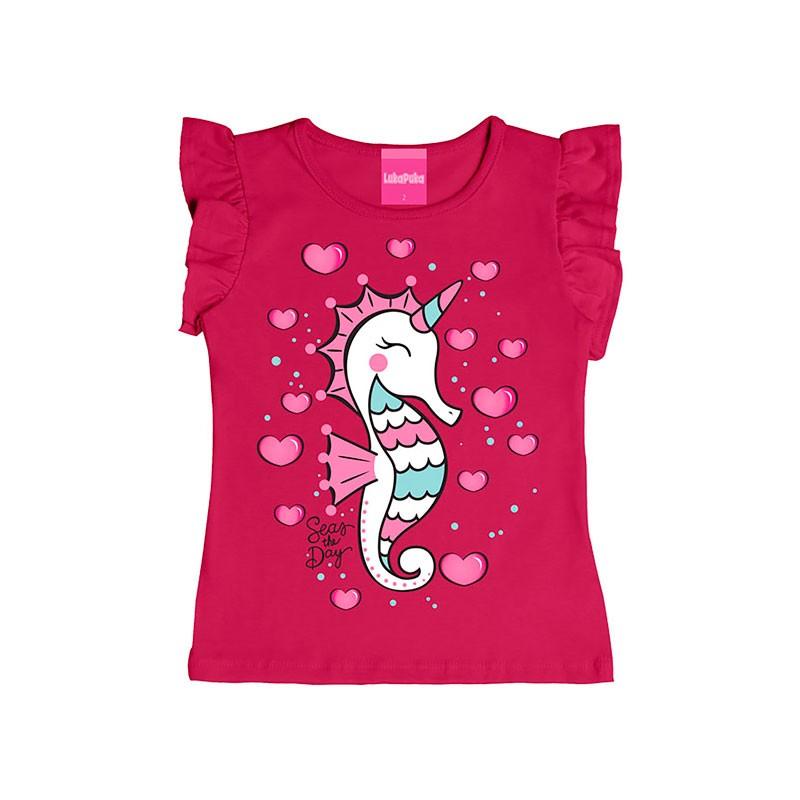 Blusa Infantil Menina Cavalo Marinho Rosa