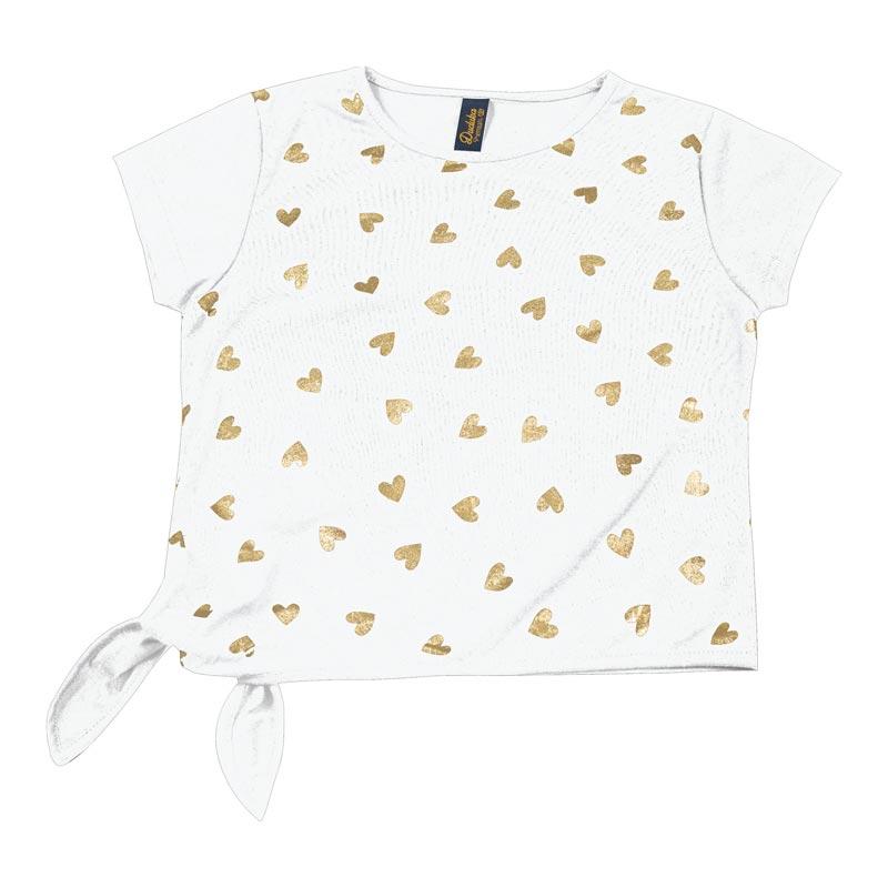 Blusa Infantil Menina Coração Branco