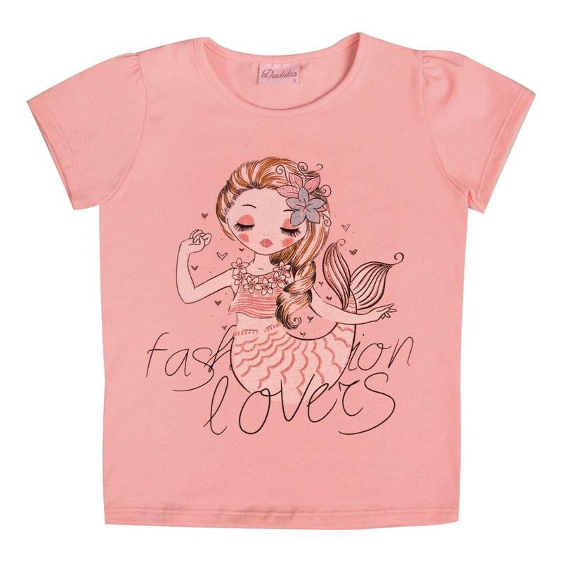 Blusa Infantil Menina Fashion Lovers Salmão
