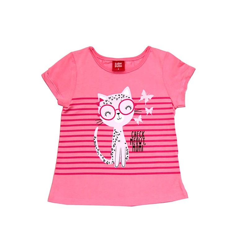 Blusa Infantil Menina Gatinha Rosa