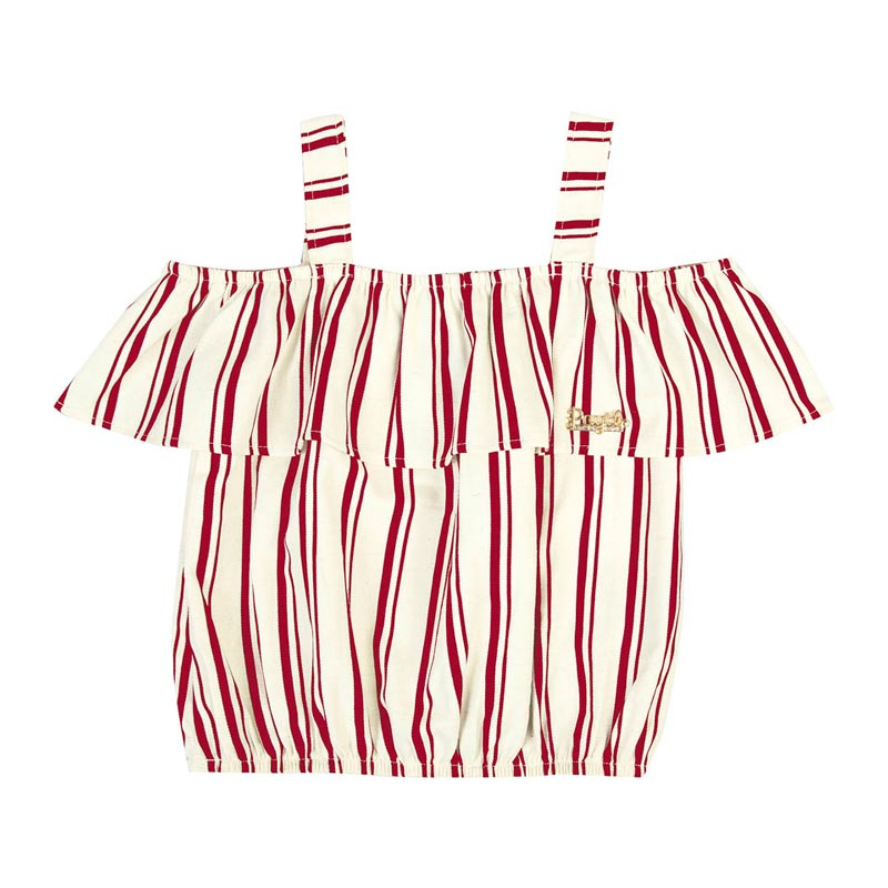 Blusa Infantil Menina Listrado  Vermelho
