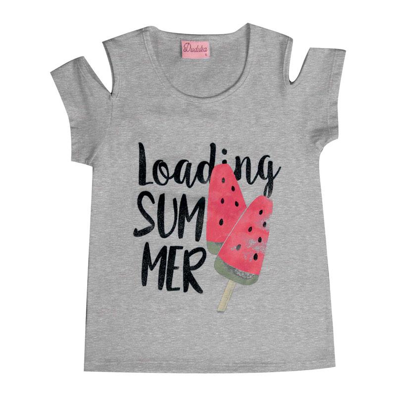 Blusa Infantil Menina Loading Summer Cinza