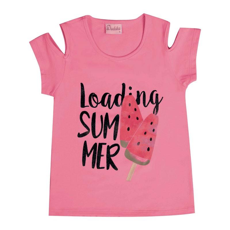 Blusa Infantil Menina Loading Summer Rosa