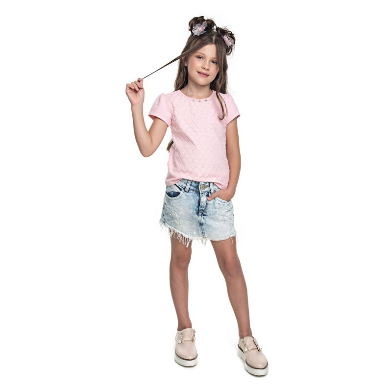 Blusa Infantil Menina Renda Rosa