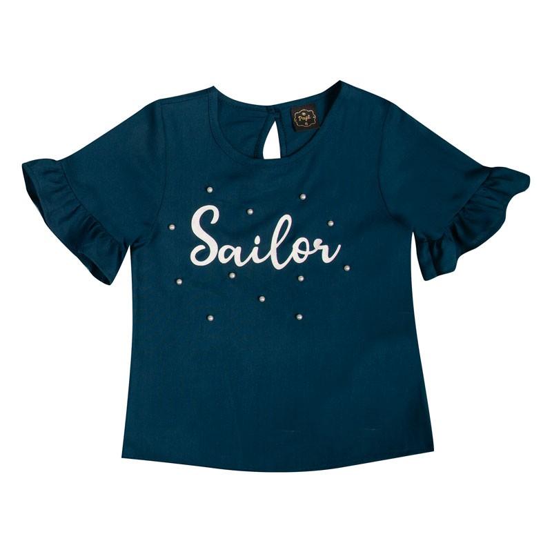 Blusa Infantil Menina Sailor Azul