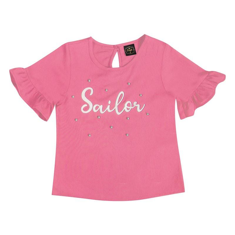 Blusa Infantil Menina Sailor Rosa