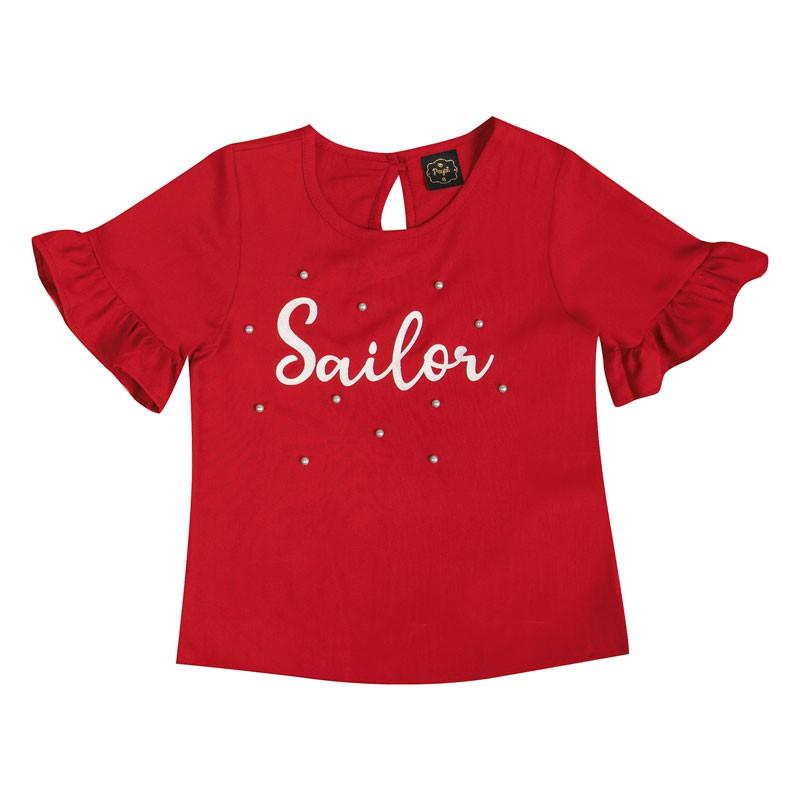 Blusa Infantil Menina Sailor Vermelho
