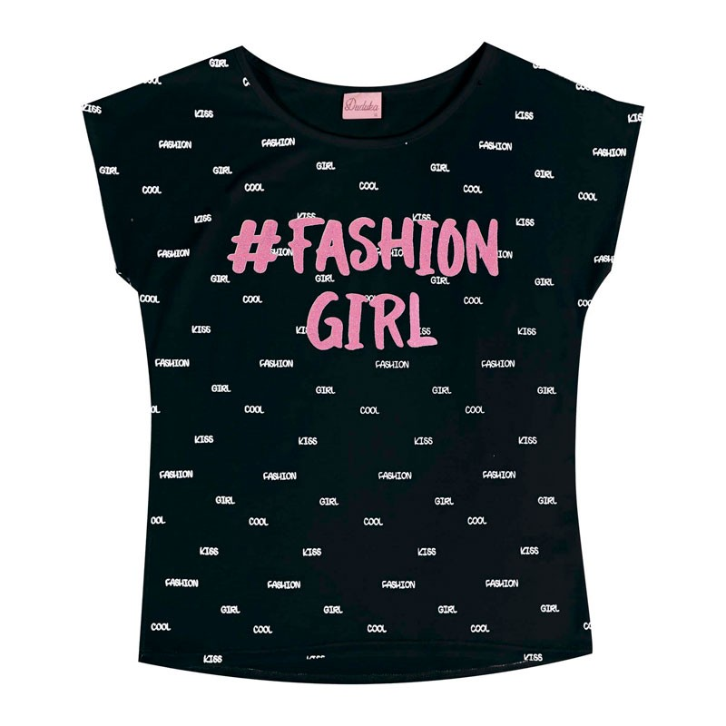 Blusa Duduka Juvenil Menina Fashion Girl Preto