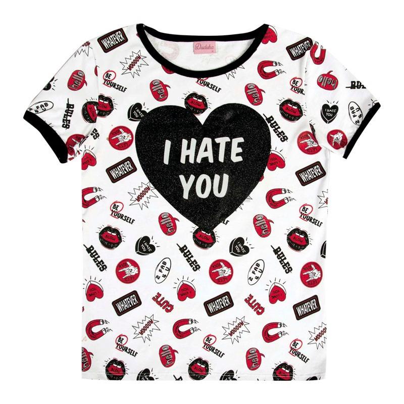 Blusa Juvenil Menina I Hate You Branco