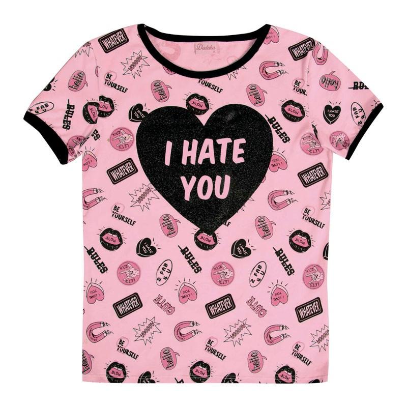 Blusa Juvenil Menina I Hate You Rosa