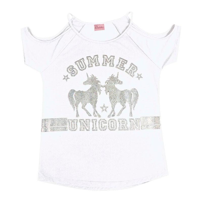 Blusa Juvenil Menina Unicorn Branco