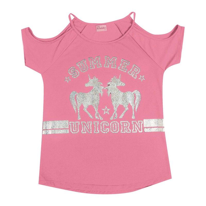 Blusa Duduka Juvenil Menina Unicorn Rosa