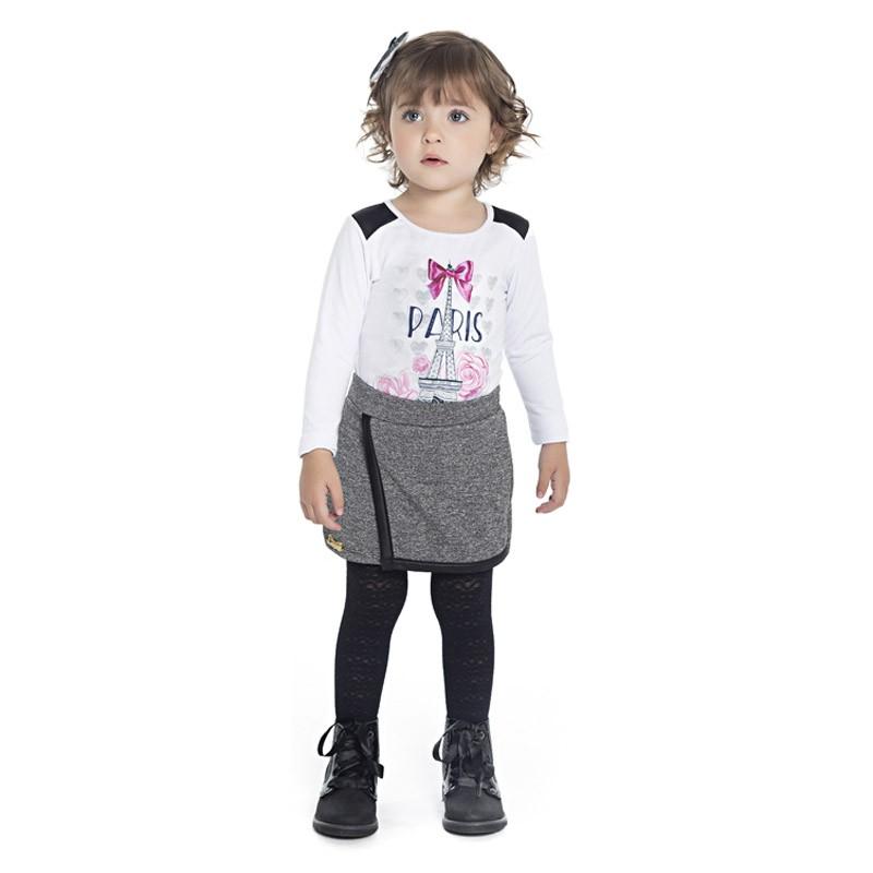 Blusa Paytê Infantil Menina Paris Branco
