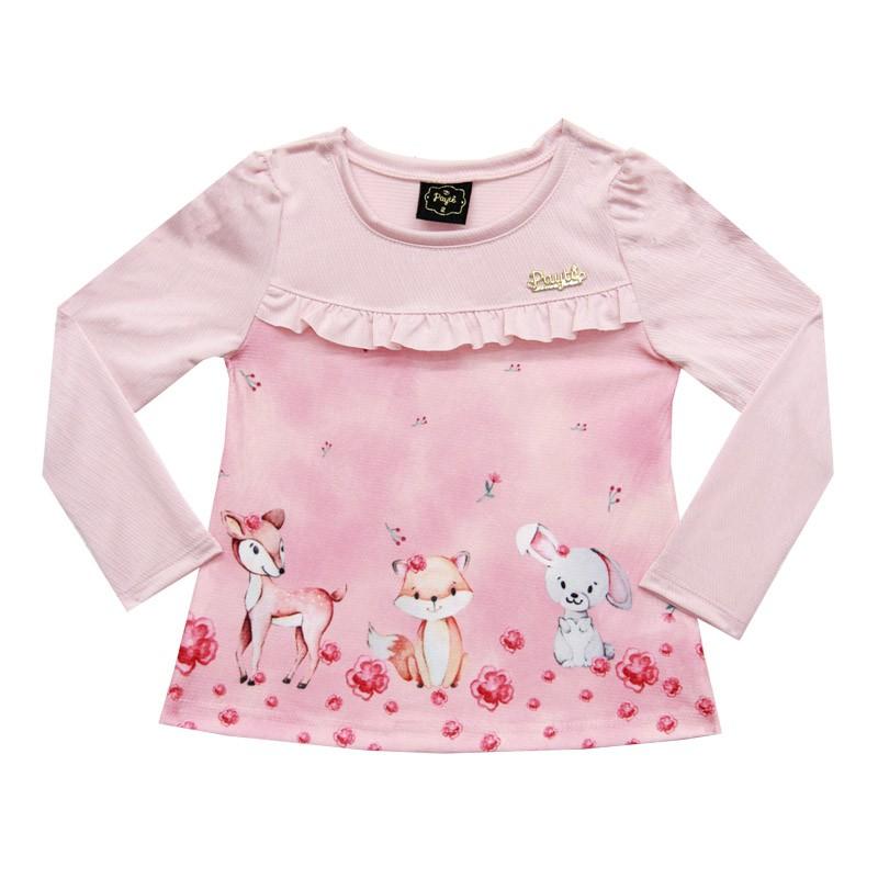 Blusa Paytê Infantil Menina Rosa