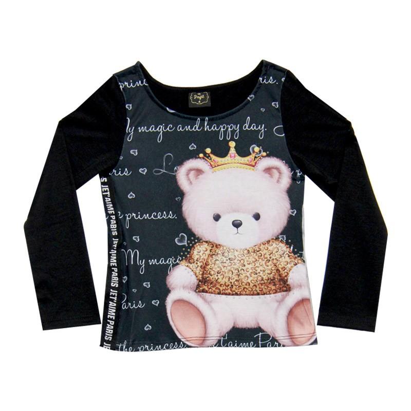 Blusa Paytê Infantil Menina Urso Preto