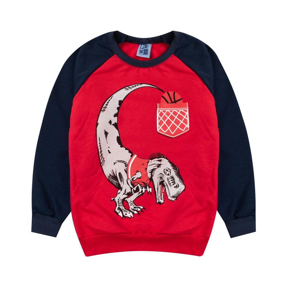 Blusão DDK Infantil Menino Dinossauro Vermelho