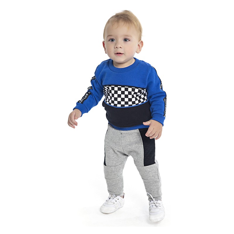 Blusão DDK Infantil Menino Xadrez Azul