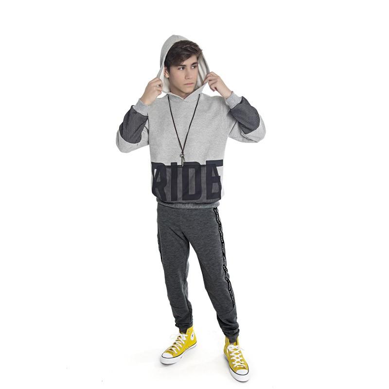 Blusão DDK Juvenil Menino com Capuz Cinza
