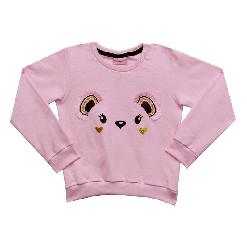 Blusão Duduka Infantil Menina Bordado Rosa