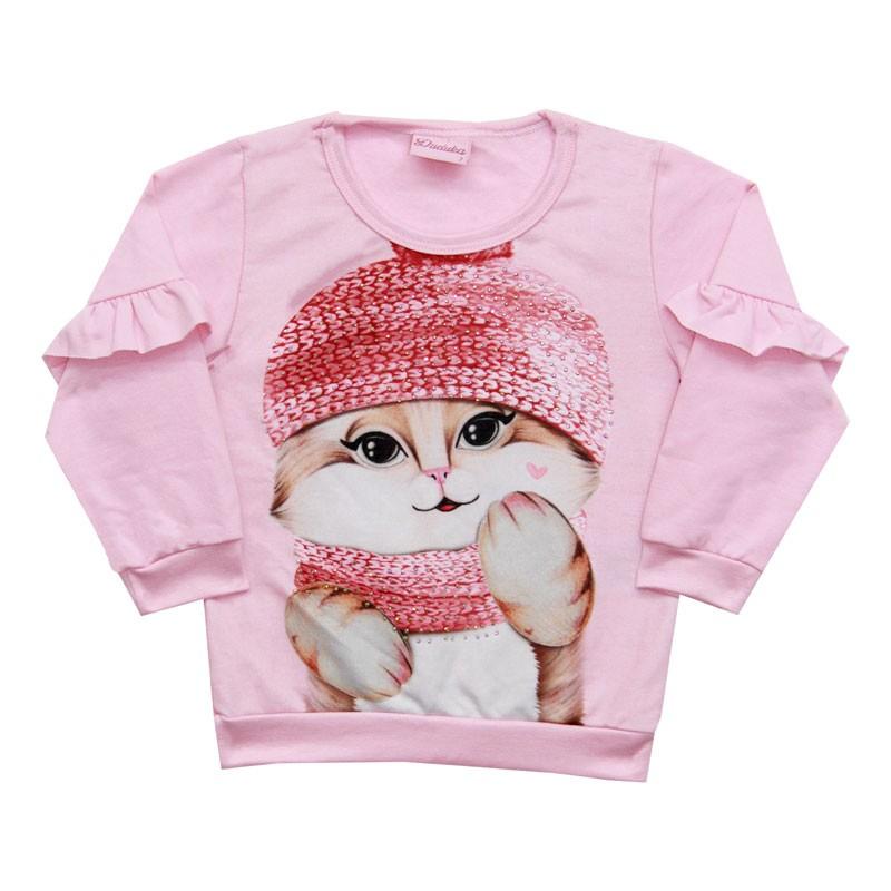 Blusão Duduka Infantil Menina Gatinha Rosa