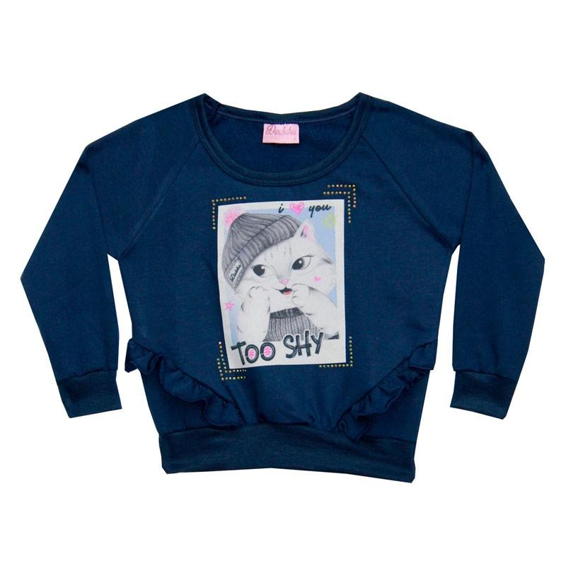 Blusão Duduka Infantil Menina Too Shy Azul