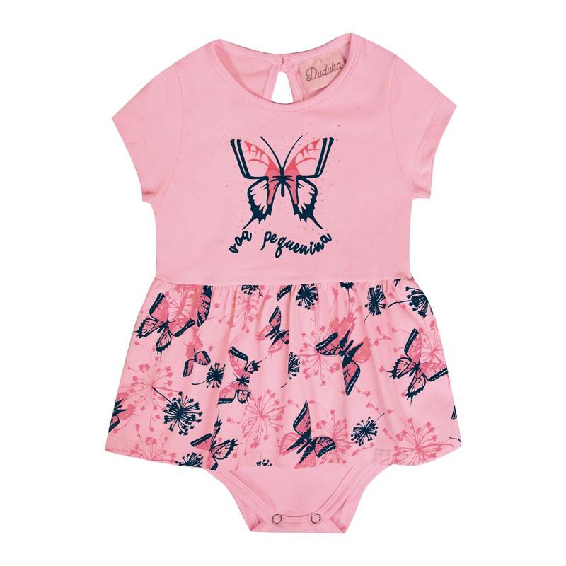 Body Vestido Bebê Menina Borboleta Rosa