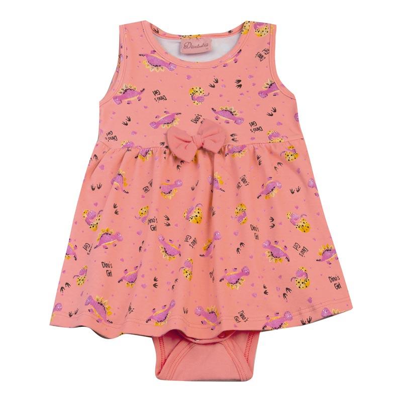 Body Vestido Bebê Menina Dinossauro Rosa