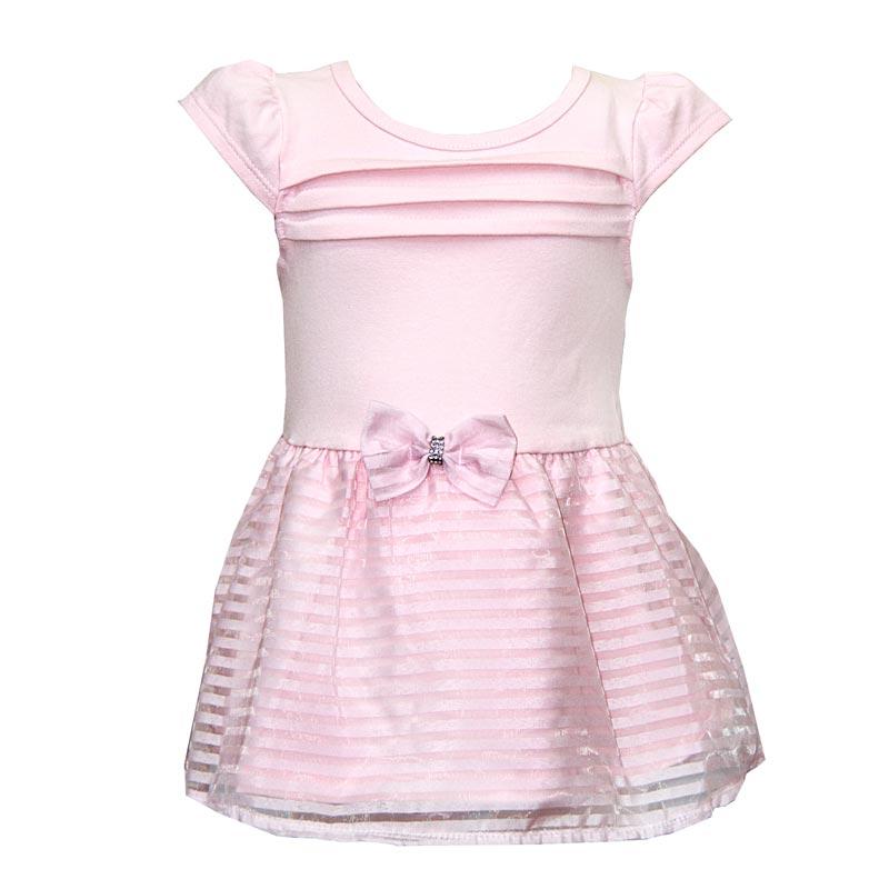 Body Vestido Bebê Menina Laço Rosa