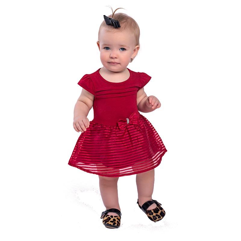 Body Vestido Bebê Menina Laço Vermelho