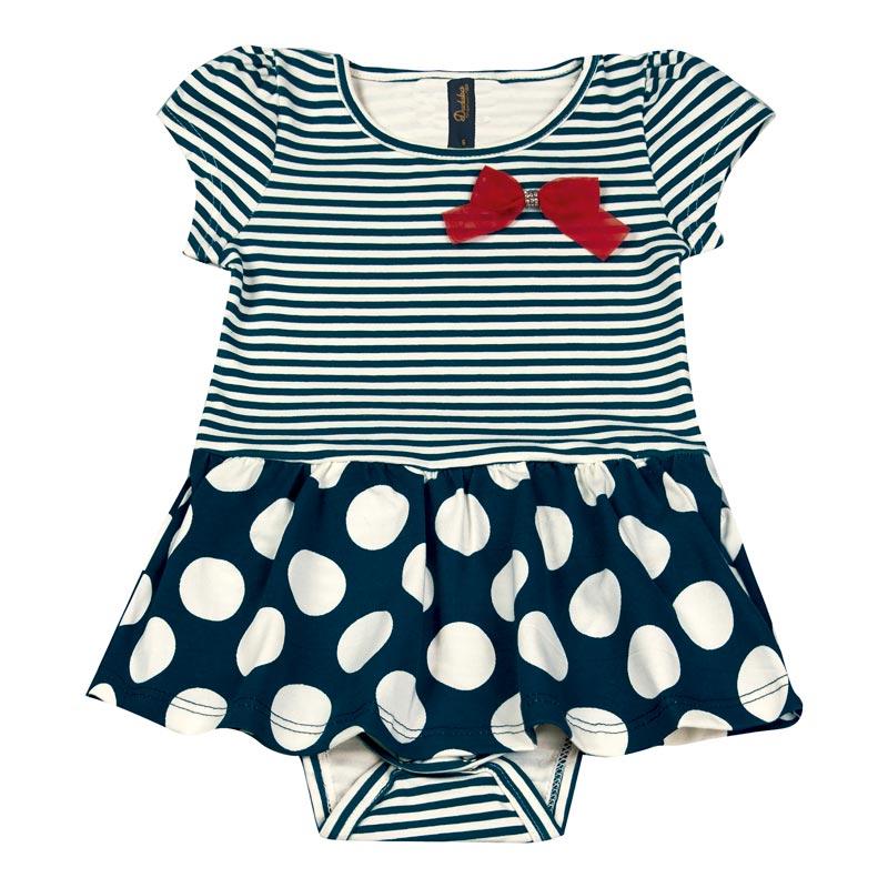 Body Vestido Bebê Menina Listrado Azul