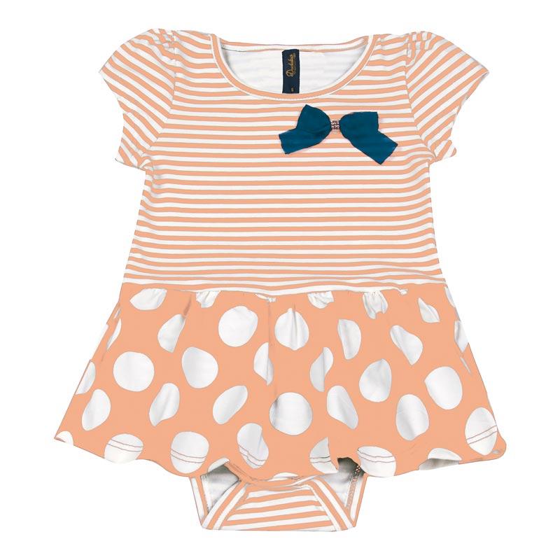 Body Vestido Bebê Menina Listrado Laranja