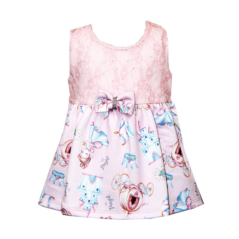 Body Vestido Bebê Menina Princesa Rosa